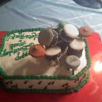 Drum Cake this was done for a friends Birthday. YES... he is the drummer of a band. all was edible. modeling chocolate and butter cream were used....