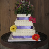 "Country Wedding With Spring Flowers   10"" yellow, 8"" strawberry, 6"" lemon covered with BC and BC piped dots"