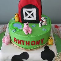 Farm One year old birthday cake with a barnyard/farm theme.