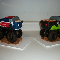 Monster Trucks  These are the monster trucks for my twin nephews 3rd b-day. King Krunch and Grave Digger. WASC cake with buttercream frosting and a few...