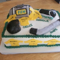 Hockey Themed Cake  Cake made for my son's end of tear Roller Hockey party. Vanilla Cake w/ fudge filling. Hockey gear made from rice krispies covered in...