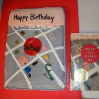 1St Book Cake   The cake is covered in buttercream with the building and details on the front made from fondant.