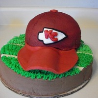 Kansas City Chiefs Hat   Chiefs hat with matching blackhawks hat made for a joint b-day party for my FIL and BIL.
