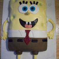 Spongebob   Spongebob cake for my son's 4th b-day. 9x13 cake covered in fondant. Legs and arms are fondant also.