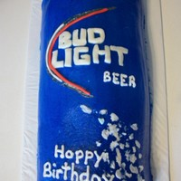 Bud Light Cake   This was a birthday cake for my sister in law. Covered in buttercream with fondant letters.