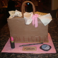 Hollister Bag   My first hollister bag. It was a 9x13 cut in 3 and stacked. Make-up is gumpaste.