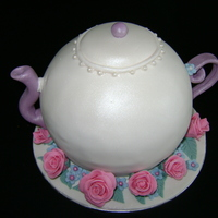 Teapot Cake For my great aunt's birthday I made a teapot cake using the wilton sports ball pan. Had to use a LOT of cake batter (ie, a 6 egg pound...