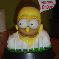Homer Simpsons Cake  one of my very first 3D cakes... and one of my first fondant attempts. you have to start somewhere. maybe someone can use this as...
