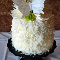 Coconut Wedding Cake   coconut buttercream covered in coconut flakes