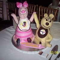 Piglet And A Generic Bear piglet and a bear.....no its not suppose to be winnie...actually a bear she had as a little girl for baby shower
