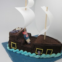 Pirate Ship Cake  i just made this for the fun of it.. took me around 3 hours only.. cake is covered with butter cream. pirate, cannons and anchore are...
