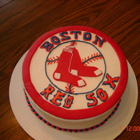 Red Sox Cake   MMF with some molding chocolate and royal icing