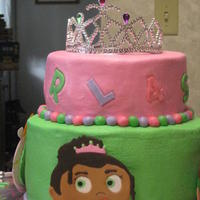 "Super Why Cake  Made this cake for my niece's birthday. She loves ""super why."" The cakes are chocolate with bavarian cream filling and..."