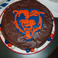 Da Bears Chicago Bears cake. Butter cake on the inside with chocolate frosting. Delish!!