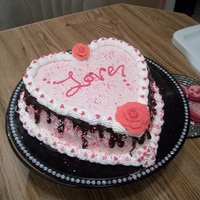 Made With Love! I made a heart shaped Strawberry cake with Strawberry whipped cream and chocolate ganache!! It really looked alot better in person! Frist...