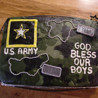 God Bless Our Boys Made this for a friend and his friend who just joined the army. All decorations MMF (with edible silver beads for dogchain.) Chocolate...
