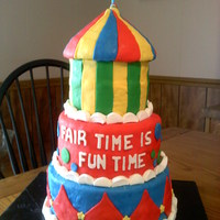 "Fair Theme Cake I made this for a small county fair ""theme"" cake contest..""Fair Time is Fun Time"". Fun to make this one!"
