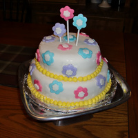 Marshmallow Fondant Flower Cake This was my first time using any kind of fondant ever! I liked the MMF it was easy to work with..I have a lot to learn but it was fun for...