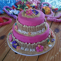 Hawaiian Birthday Here is a hawaiian birthday cake for a 6 year old little girl I made. Chocolate cake, chocolate frosting, pink MFF. I finally had the...
