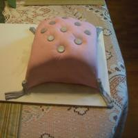 Pink And Silver Pillow Cake  I made this for the mothers in my family for Mother's day. It's my first attempt at a fondant cake. Its is chocolate cake with...
