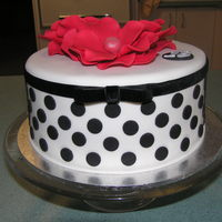 Black And Red I made this for my niece's 18th birhday. It's a 7inch chocolate mud with ganache and fondant. Ribbon/bow is velvet.