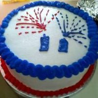 4Th Of July Cake Red, White & Blue checkered cake inside, filled with Raspberry & buttercream. Iced in BC. I didn't get to take a pic of the...