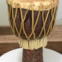 Djembe Drum My husband's birthday cake- he's a drummer in case you didn't guess! Vanilla bean cake, white chocolate buttercream and key...