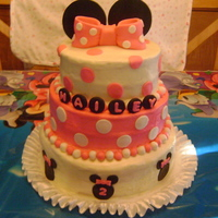 Minnie Mouse Cake  I made this for my godchild's 2ND Birthday. It was over 100 outside and I had to drive it 45 min. away. It started to melt a bit. It&#...