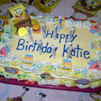Sponge Bob Ice Cream Cake I made this for my friends daughter. She really wanted a ice cream cake so I made it out of ice cream sandwiches and cool whip.