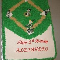 Baseball Field Cake This was for a boys first birthday. It was fun to make and everyone loved it. WASC recipe with pineapple filling, iced in BC.