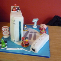 Wii Cake my sons are obsesed with their wii so for their joing birthday party i made them a wii cake. all the figures are only toys of their...