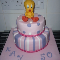 Tweety Pie Cake yellow cake covered in fondant with fondant accents and gumpaste tweety. thanks for looking x