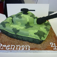 Tank Cake all completly edible. painted the camoflauge on to the fondant. turned out good considering that it was going horribly wrong to start with...