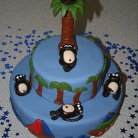 Monkey Island Made for a baby shower. Fondant covered white cake. Monkeys, tree, and decorations made from fondant.
