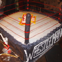 Wrestle Mania Cake This cake was made for my Uncle's annual Wrestle Mania party. It 2 12x12 square cakes, stacked. Sides are fondant with royal icing....