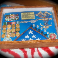 Navy Retirement Shadow Box Cake   Cake covered in fondant, Medals, ribbons, pins, and other decorations done in gum paste. Caduceus made from royal icing.