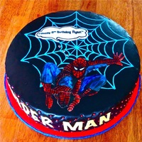 Spider Man  Two 16 inch rounds Triple Chocolate Cake with Cookies & Cream Filling. I hand painted Spider - Man and took me just under three hours...