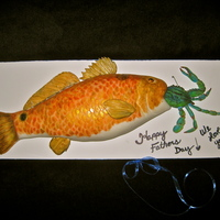 Red Fish With Blue Crab Bait! I made this cake for my husband for Father's Day. He's a huge fishermen and his most favorite fish in the world is a redfish....