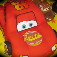 Lightning Mcqueen & Friends! Everything edible except Mater and the round remote control, toy for the birthday boy! WASC Cake with Cookies and Cream filling and vanilla...
