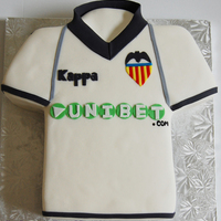 Valencia Soccer Jersey Cake   Sponge cake with dulce de leche filling and swiss meringue buttercream. all handcut.