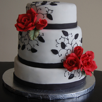 Black, White And Red Engagement Cake