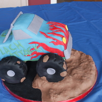 "Monster Truck Cake Made this Monster truck cake for my son's 5th birthday. ""Zach Attack"" Banana cake with banana buttercream. Covered in..."