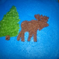 "Cabin Style...moose & Bear   Just playing around with ways to ""stamp"" a cake shape...used the moose/bear theme"
