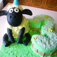 Shaun The Sheep   Shaun the sheep for a friends sons third birthday, first time using rkt in a cake, lots of fun :)