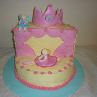 Princess, Fairy Ballerinaa Cake  i was asked for a birthday cake with fairies, ballerinas, princess's and on a stage. the colours asked for where blue and pink. i had...