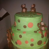 Spotty Monkey Cake  a chocolate cake covered in buttercream with fondant features i did for a friend. thanks to every one who put up monkeys for the amazing...