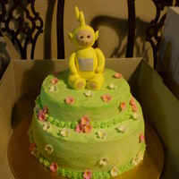 La-La Teletubby  vanilla cake with choc filling, for a friends daughters first birthday. her big sister was in love with la-la when they picked it up, and...