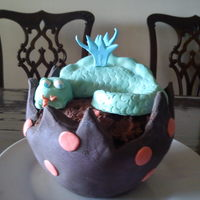 Dragon Egg Cake  fondant covered chocolate cake dragon egg, with rkt and fondant dragon. I have never covered a cake in fondant before, no idea why I...