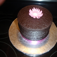 Pink Daisy Chocolate Celebration Mint Chocolate Cake with Chocolate Fondant, topped with Gum Paste Daisy(My first fondant~)