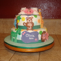 Baby Shower Jungle Theme I made this cake for a girl baby shower cake. It is the theme of the babys room and shower theme. All animals and shoes are made of fondant...